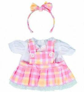 "8"" PINK & YELLOW PINAFORE & HEADBAND TEDDY CLOTHES FITS 8""-10""(20cm) TEDDY BEARS"