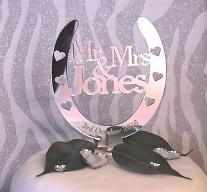 Wedding-Cake-Topper-Personalised-Mr-amp-Mrs-Lucky-Horseshoe-FREE-GIFT-BAG