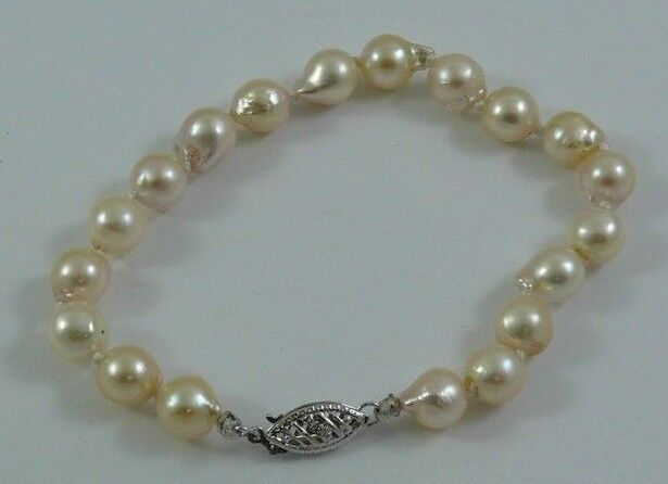 d73b3037cd829 gold White with Bracelet Pearl Baroque White Akoya Clasp 14k Inches ...