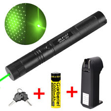 Military Green Laser Pointer Pen 532nm 1mW Powerful Beam Light+Battery+Charger