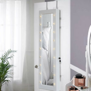 Door Mount Jewellery Cabinet Led On Off Makeup Mirror