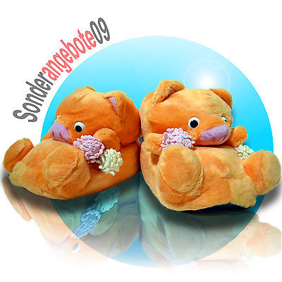 Tierhausschuhe orange Schwein witzig Hausschuhe Schuhe Plüsch Teddybär Bommeln