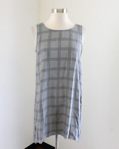 Eileen Fisher Gray Crepe Plaid Silk Tunic Tank Top Blouse Size XS Womens