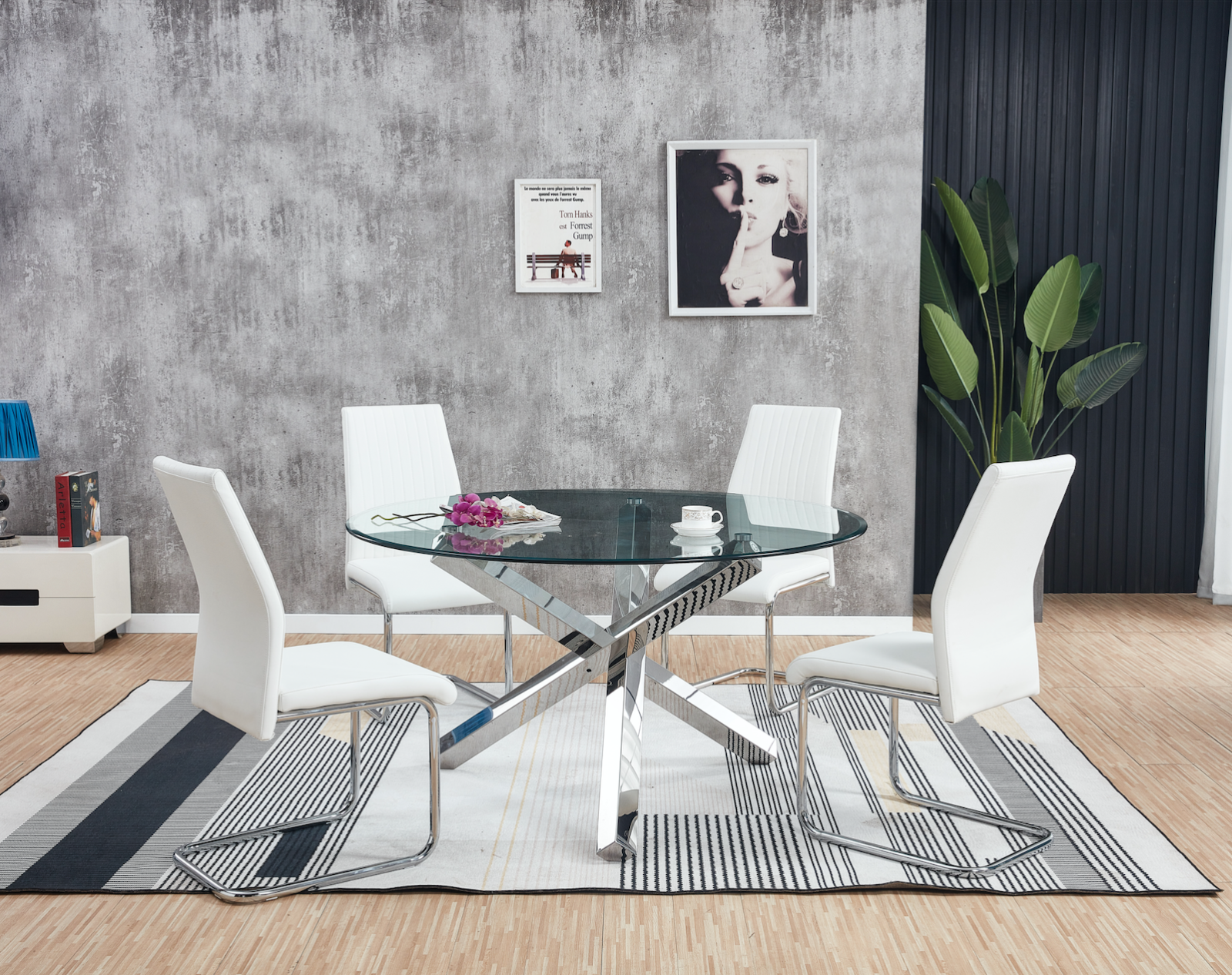 Ikea Glivarp Extendable Chrome Glass Table 4 Bernhard White Leather Chairs For Sale Ebay