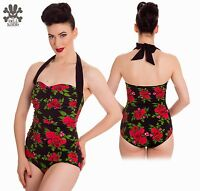 - Hell Bunny 'cannes 50's' Floral/black 1-pc Halter Sheath Swimsuit - Xs