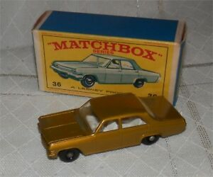 1960s.matchbox.lesney.36, opel, vauxhall Diplomat Bpw.mint In Box.original
