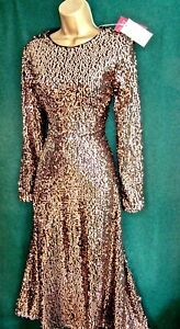 New-MONSOON-8-16-Rose-Gold-SATURN-Sequin-Stretch-Fit-039-n-039-Flare-Cocktail-Prom-DRESS