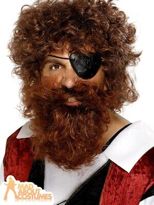 THE CAPTAIN BEARD BROWN PIRATE FANCY DRESS COSTUME ACCESSORY