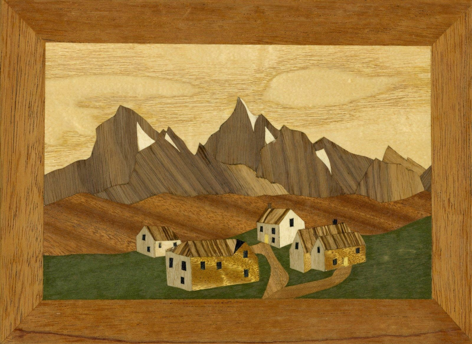 Pyrenean Village  Traditionell nybörjare Marquetry Craft Kit av Cove arbetarhop