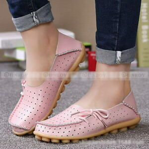 e9573eaf5a2 Image is loading Womens-Hollow-Shoes-Casual-Leather-Driving-Ballet-Slip-