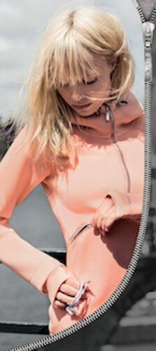 Giacca da donna nero rosa Freddy curve zip trasversale manica lunga cappuccio