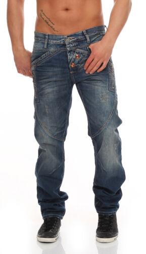 Cipo Baxx Herren Jeans Hose C44017 Blau Used L32 Denim Straight Fit NEU Cotton