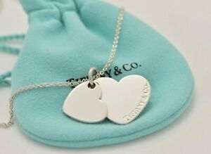 Tiffany Co Silver Double Heart Tag Pendant Necklace 18 5 Two Charm Rare Love Ebay