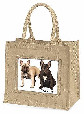 Französische Bulldoggen Soulmates Stimmung groß Natürliche Jute Einkauf Tasche