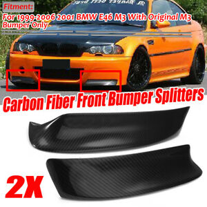 PARA-BMW-E46-M3-BUMPER-REAL-CARBON-FIBER-FRONT-LIP-SPOILER-SPLITTER-1999-2006