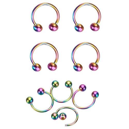 8PCS Punk Clip On Fake Nose Lip Hoop Rings Earrings Silver Body Piercing D2 10mm
