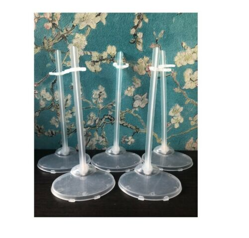 Doll Holder Stand Figure Display 5 Pcs Stands Toy Model Barbie Clear Translucent