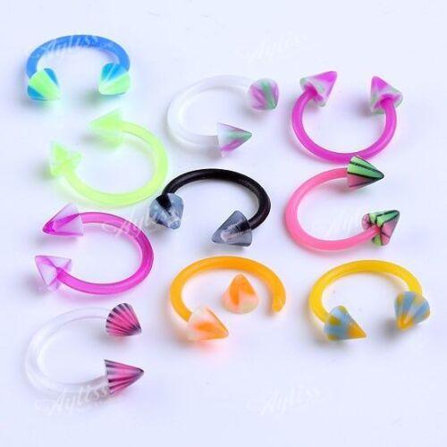 10x Mixed Acrylic Spike Rivet Horseshoe Septum Nose Ring Stud Punk Jewelry Set