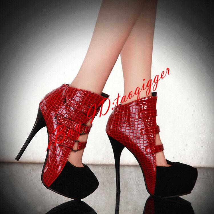 Women Platform Multi Buckle Stiletto Lady High Top shoes Sandals Pattern Cut Out
