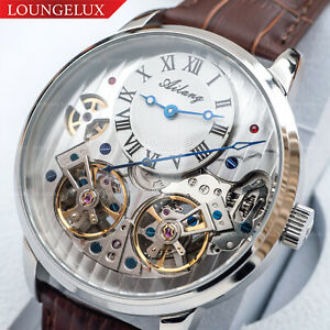 Mens-Double-Flywheel-Luxury-Bling-Skeleton-Automatic-Mechanical-Leather-Watch