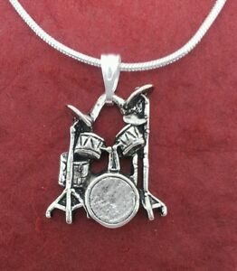 Drum-Necklace-New-pewter-Charm-Pendant-and-Chain