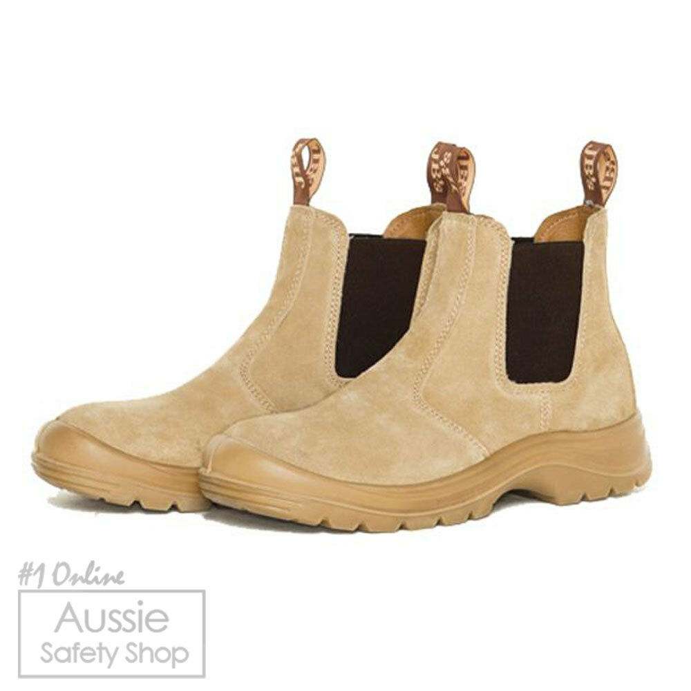 Uomo SAND SUEDE ELASTIC SAFETY STEEL TOE CAP ANTI STATIC ANTI SLIP WORK BOOTS