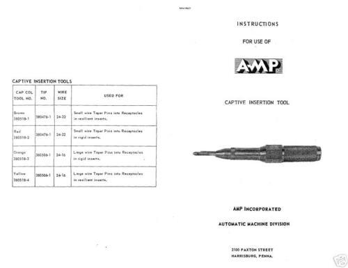 Taper Pin Insertion Tool No.380518-2 NIB w// specs AMP