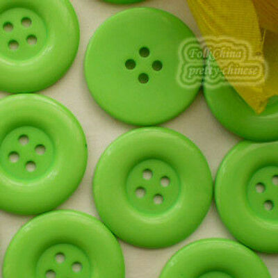 Green 4 Holes Plastic Buttons Sewing Cardmaking Scrapbooking 17mm,27mm,33mm