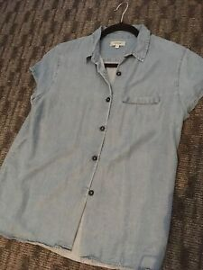Pale-Denim-Shirt-Blouse-Howies-Size-M