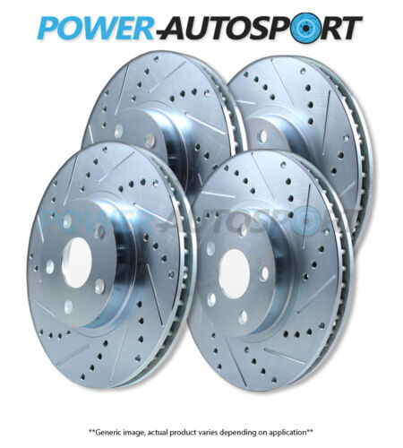 FRONT+REAR POWER PERFORMANCE DRILLED SLOTTED PLATED BRAKE DISC ROTORS 75880PS