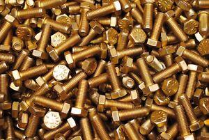 200-Hex-Head-Bolts-5-16-24-x-7-8-Grade-8-Fine-Thread-Yellow-Zinc-USA-Made