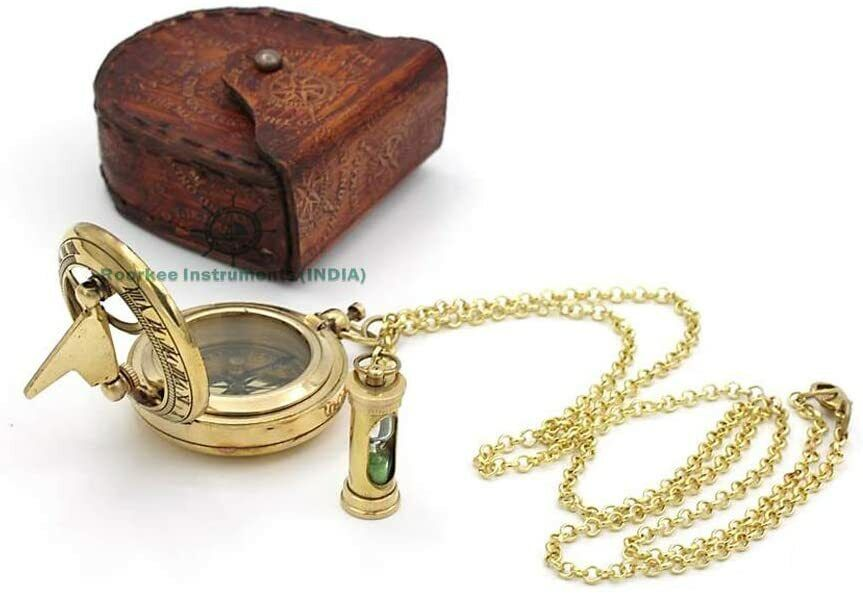 Nautical Brass Sundial Compass w/ mini Timer With Leather Case