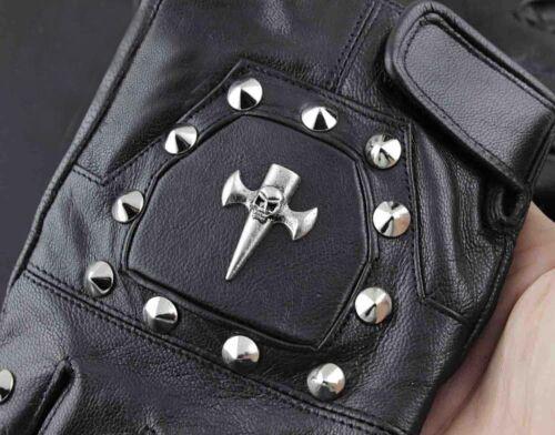 Punk Rocker homme cuir Le Crâne Moto Motard Conduite Mitaines