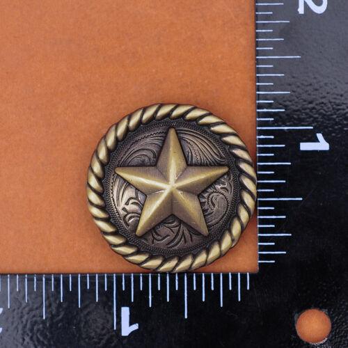 30MM 6PCS WESTERN COWBOY COWGIRL RIDER RANGER TEXAS STAR LEATHERCRAFT CONCHOS