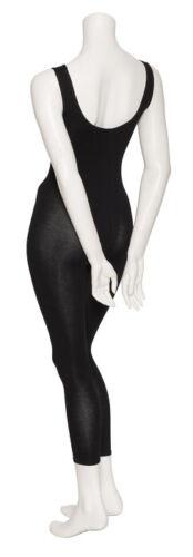 Les filles sans manches en coton noir Mesdames Footless catsuit combinaison moulante toutes tailles kdc056