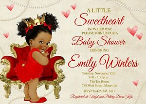 Baby Shower Invitation Red Gold
