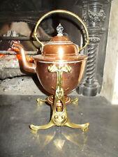Antiguo Elegante c1890ART Nouveau Victoriano ~ ~ cobre eduardiana Hervidor de agua de latón y soporte