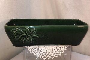 Vtg-40-50-s-Pottery-Dark-Green-Window-Herb-Garden-Planter-Daisy-Flower-Vase