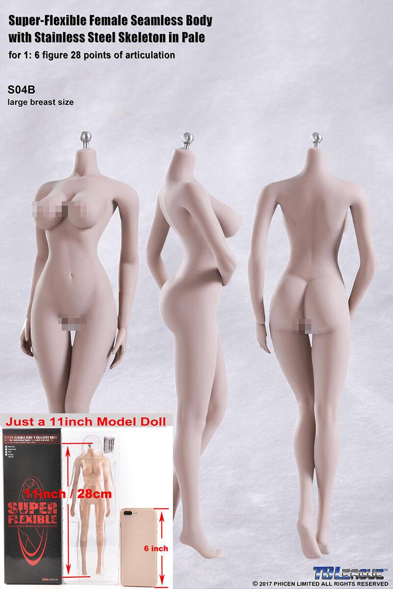 TBLeague 1 6 súper flexible cuerpo de mujer sin costuras grande en el pecho pálido esqueleto S04B