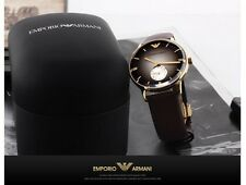 EMPORIO ARMANI AR1756 Brown Leather Strap Men's Watch - 2 Years warranty