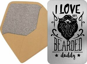 Image Is Loading Fathers Day Wallet Card Metal Insert Beard Bearded
