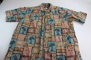 Cooke-Street-Honolulu-Palm-Tree-Design-Hawaiian-Camp-Shirt-Large-L