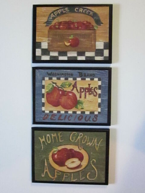 Apple Signs Kitchen Wall Decor 3 Country Plaques Farm House Style ...