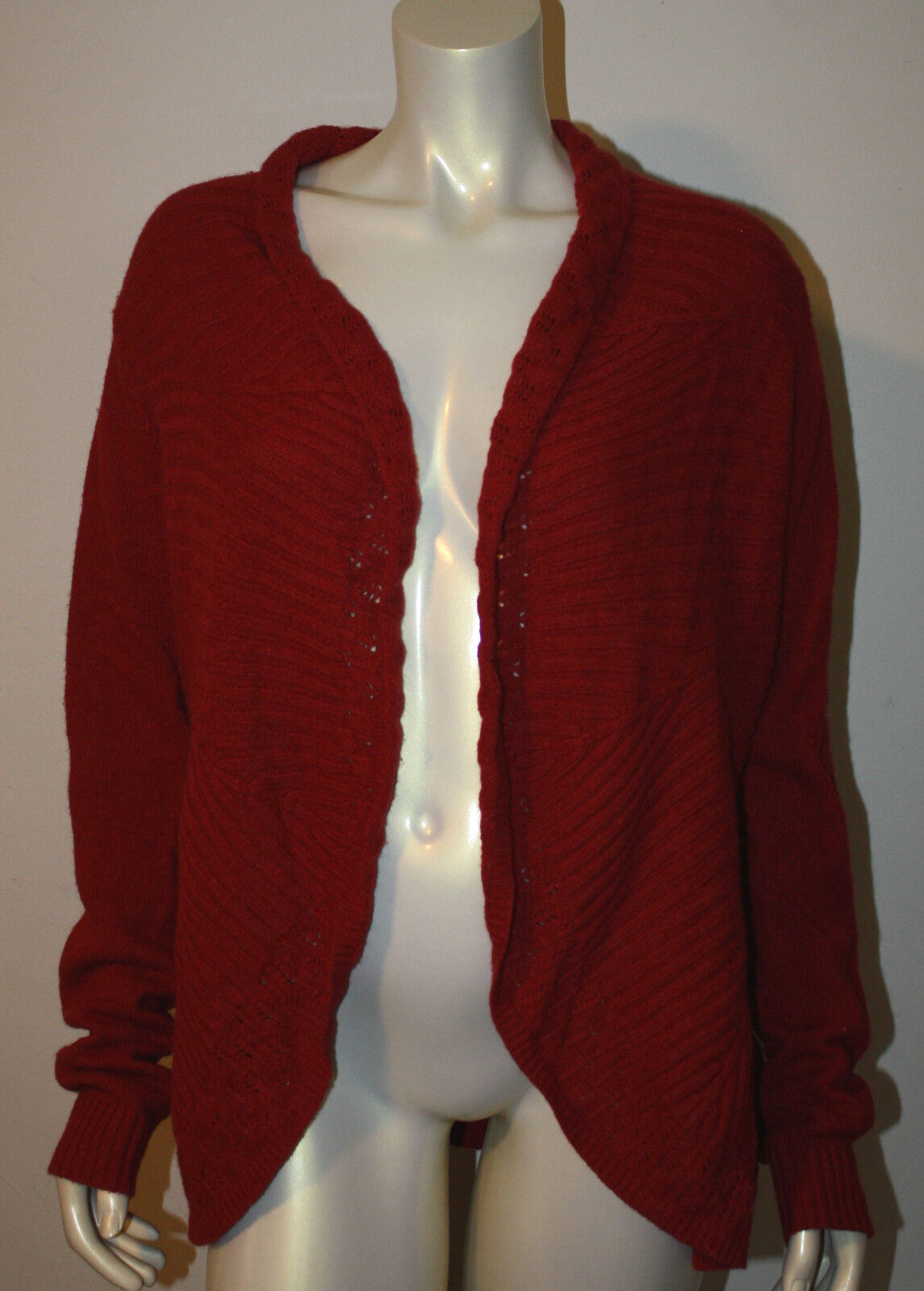 KNITTED & KNOTTED Red Cotton Wool LS Cardigan Sweater L NWT