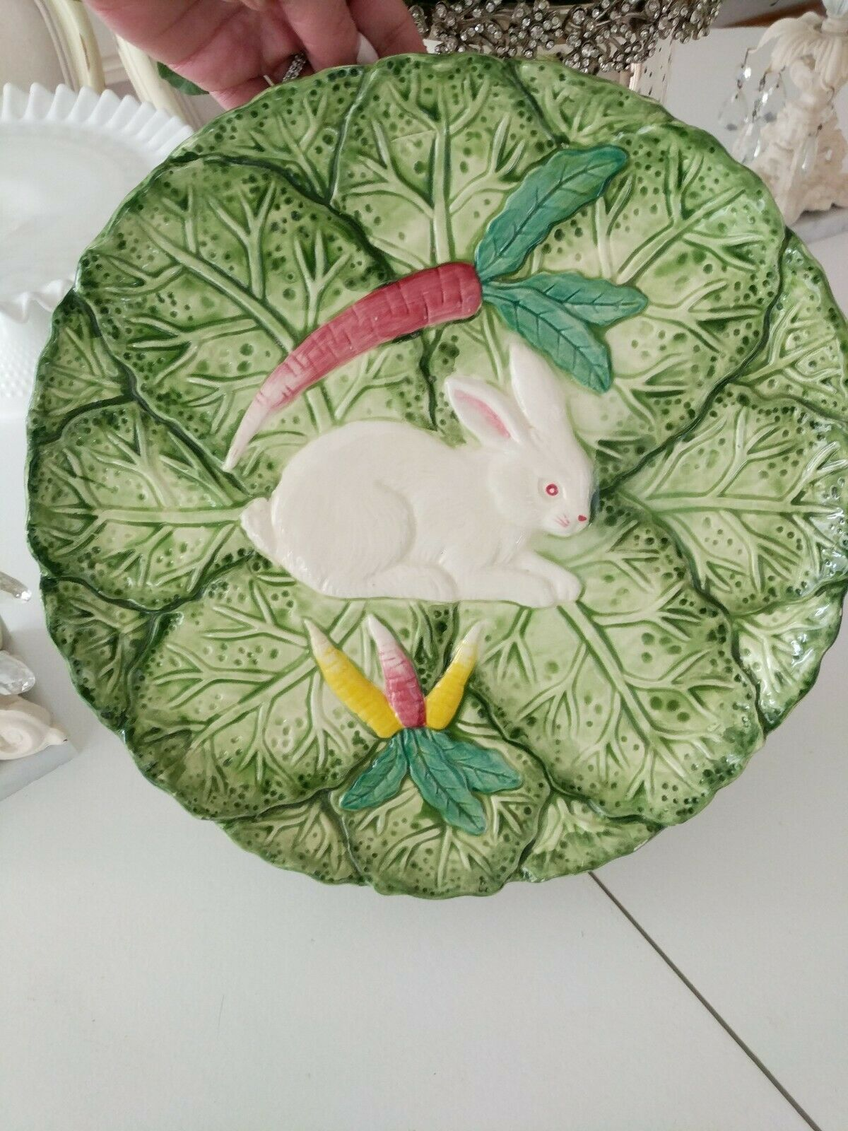 Bunny Lane Pedestal Serving Platter Cake Plate 12.5  Easter Strata Group