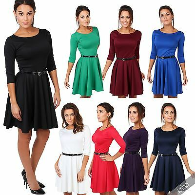 Womens Basic 3/4 Sleeve Swing Flared Belted Mini Party Skater Dress Size 4-16 US