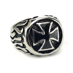 RE2 Edelstahl Ring Iron Cross/&Snake Biker Gothic EMO Eisernes Kreuz Schlange