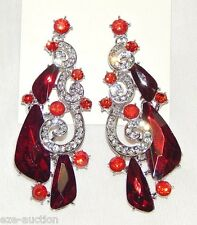 NEW DESIGN SILVER WITH RED RUBY & CLEAR RHINESTONE CRYSTAL BRIDAL EARRINGS