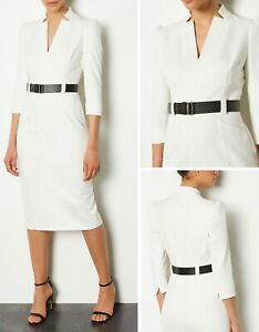 Gorgeous Karen Millen Ivory Forever V Neck Pencil Belted Dress Uk Size 16 Ebay