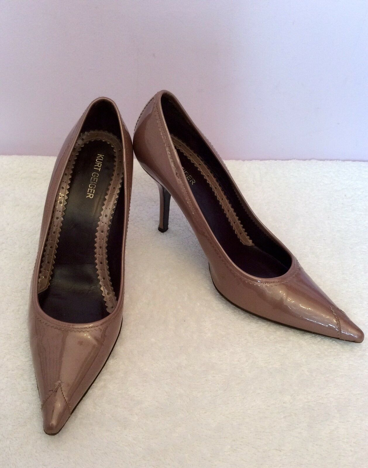KURT GEIGER BROWN PATENT LEATHER  HEELS SIZE 5 38 WORN ONCE ONLY